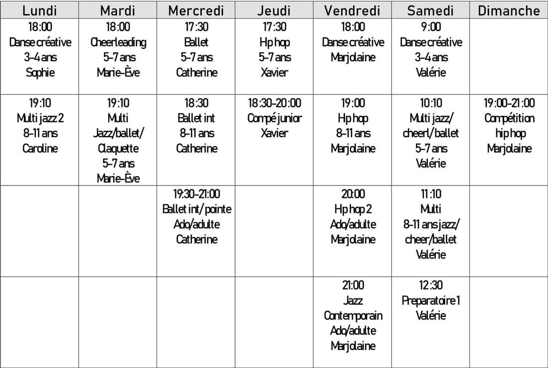 Cours de danse hiver 2020 - Lavaltrie