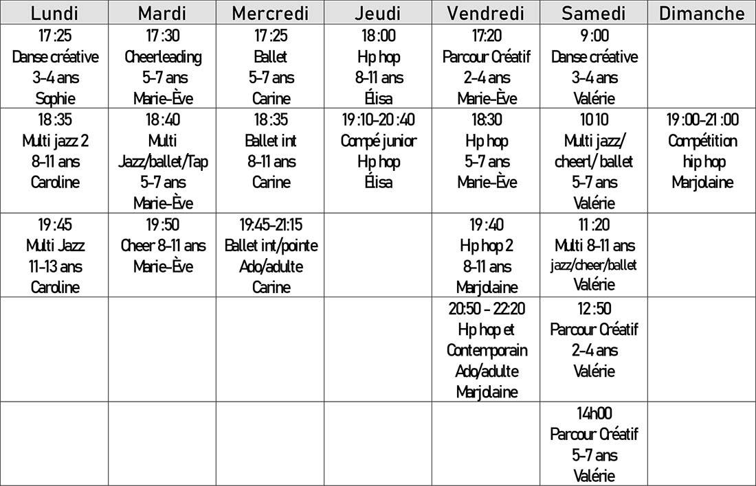 Cours de danse à Lavaltrie - Automne 2020